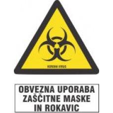 Obvezna uporaba zaščitne maske in rokavic - korona virus