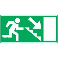Smer evakuacije - desno dol - stopnice