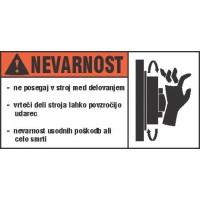 Opozorilna nalepka za stroje - Nevarnost 1
