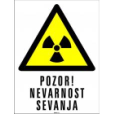 Pozor! Nevarnost sevanja